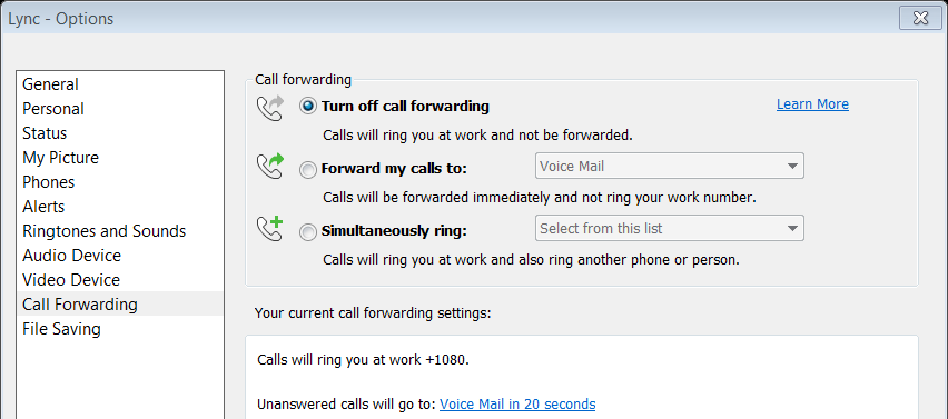2. Click the 'Unanswered calls will go to:' link (see below) 3. From the 'Send unanswered calls to the following:' drop-down list, choose 'Voice Mail' 4.