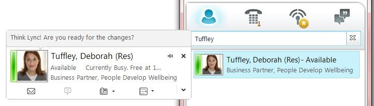 Add a Personal Greeting 1. From the main Lync window, click in the 'What's happening today?' free text field 2.