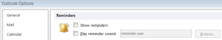 You can also turn reminders and associated sounds on and off 1. With Outlook open, click the 'File' tab 2. Select 'Options' 3. Select 'Advanced' 4. Scroll to 'Reminders' 5.