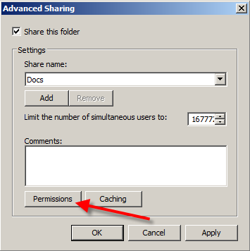 6. Click Permissions to set Users and Permissions.