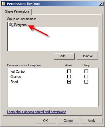 FIGURE 7: EVERYONE PERMISSIONS ARE VALIDATED 9. Everyone appears in the Group or user names panel for this folder.