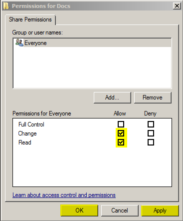 FIGURE 9: CHANGE AND READ PERMISSIONS FOR EVERYONE 11. Apply, then OK to save the changes. 12. Click OK to finish setting the Permissions for the Shared folder.