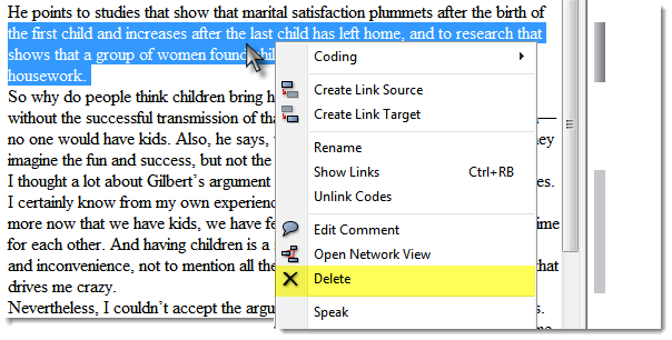 186 Figure 163: Deleting a quotation using the context menu Deleting Quotation(s) In The Quotation Manager Select the quotation(s) in question. Click the REMOVE button.