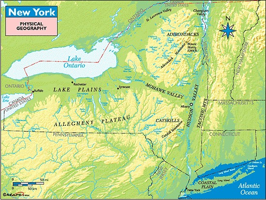 29.2. New York New York State can be divided up into the following 7 geological or topographical regions: (1) Adirondacks (2) Lake Ontario - Lake Plains (includes Finger Lakes) and St Lawrence River