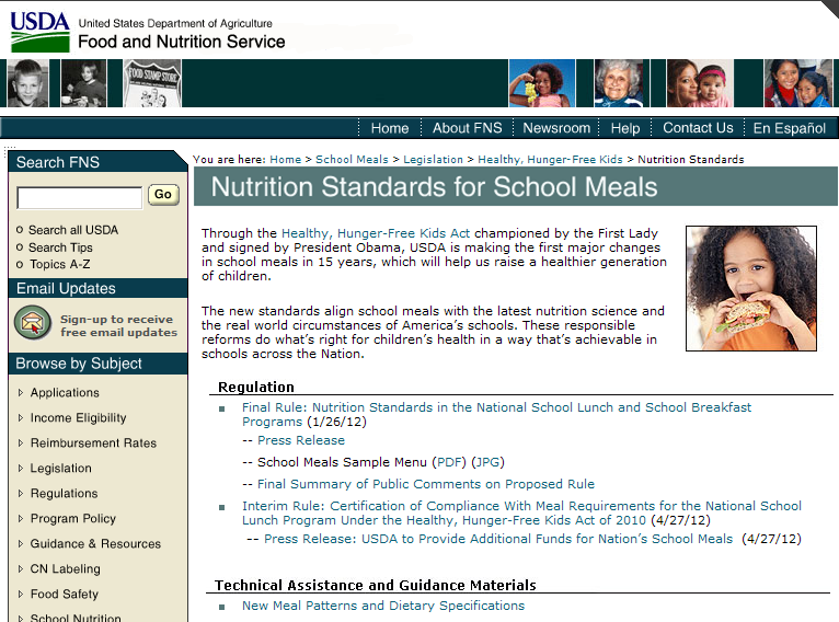 Nutrition Standards for School Meals www.fns.usda.