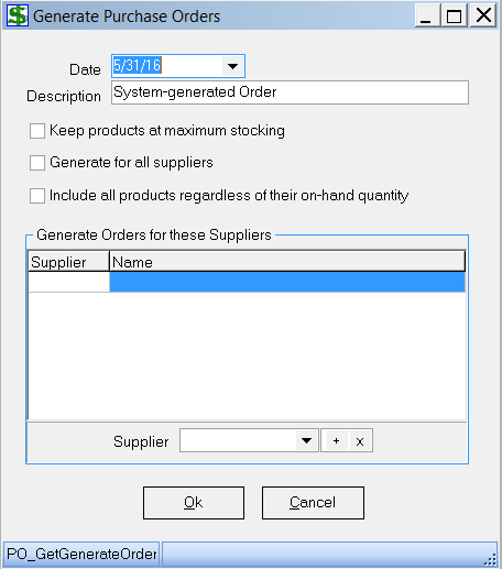 If you put a check in the Generate for all Suppliers box, the system will create a purchase order for each supplier who has at least one product whose quantity, as explained above, is not at the