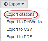 Getting started with EndNote online Importing references from Aspire From the reading list in Aspire select Export then Export citations from the links at the top of the list.