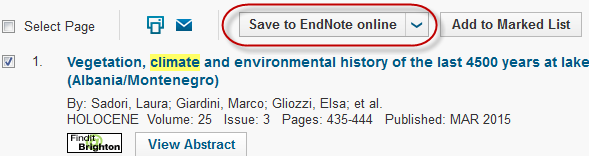 Getting started with Endnote online Run a search within the database and select your reference(s) by clicking in the check box. Click on the Save to EndNote online option above the search results.
