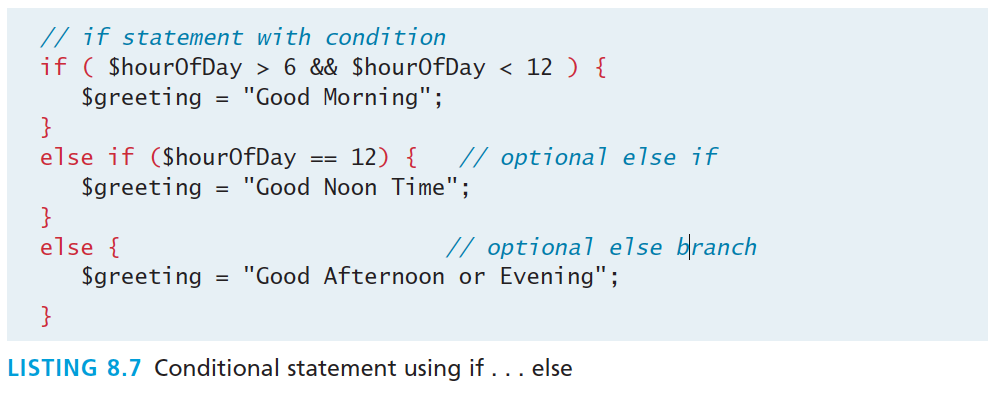 If else The syntax for conditionals in
