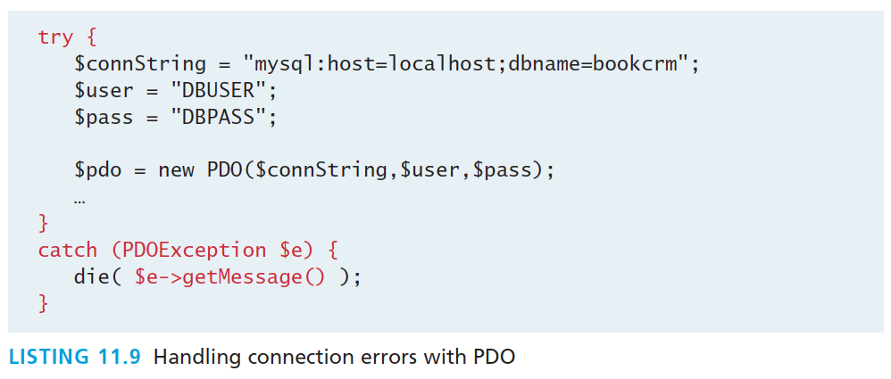 Handling Connection Errors Object-Oriented PDO with try-catch In addition PDO