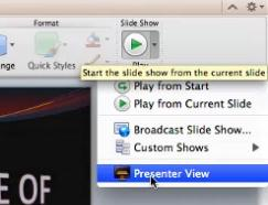 Use presenter tools with two screens Presenter view helps you manage your slides while you present by tracking how much time has elapsed, showing which slide is next, and displaying notes that only