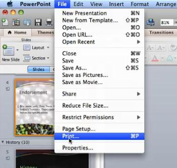 Do any of the following: Print slides including speaker notes From the Menu Bar, click File choose Print In the