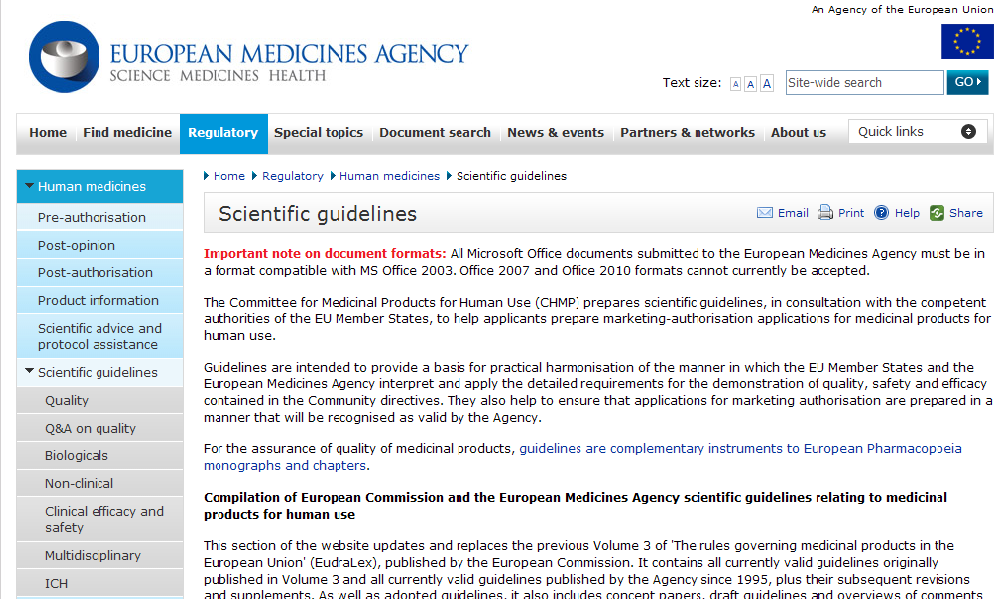 Information on Stability guidelines -EMA website: www.ema.