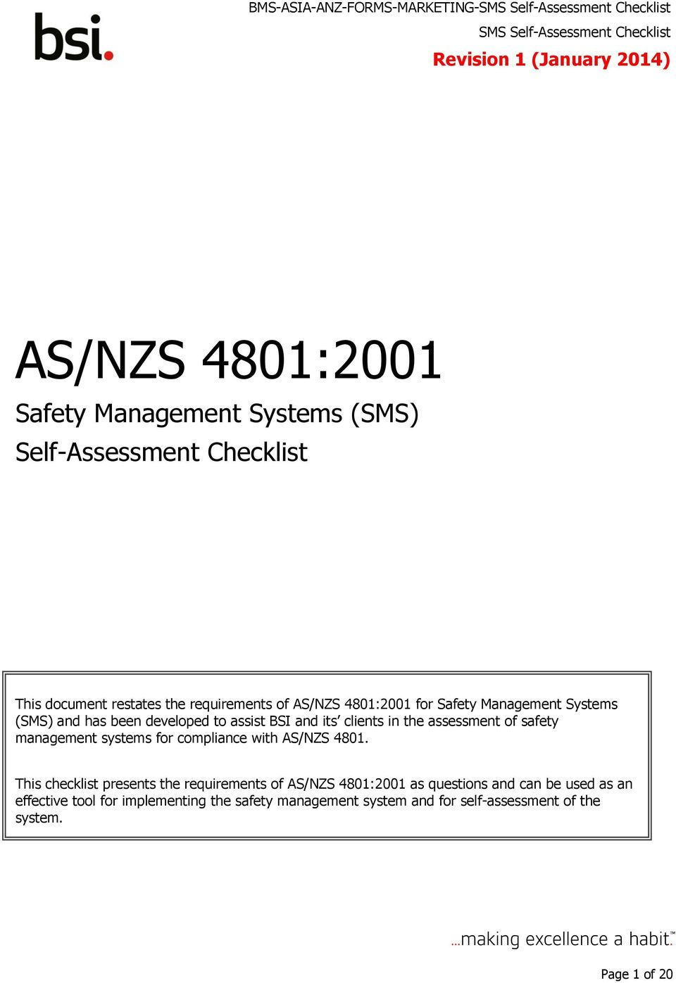 management systems for compliance with AS/NZS 4801.