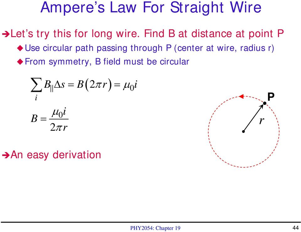 (center at wire, radius r) From symmetry, B field must be circular i B