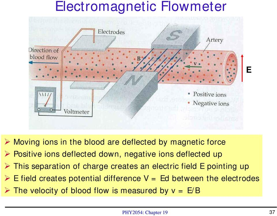creates an electric field E pointing up E field creates potential difference V = Ed