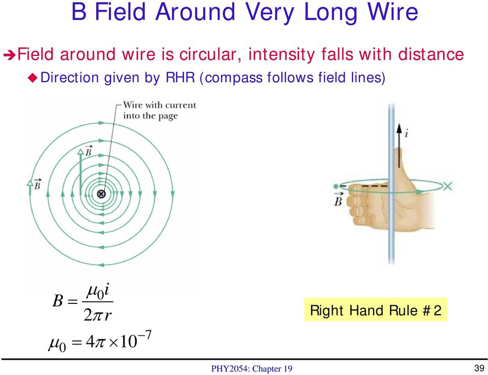 given by RHR (compass follows field lines) B = μ i 0