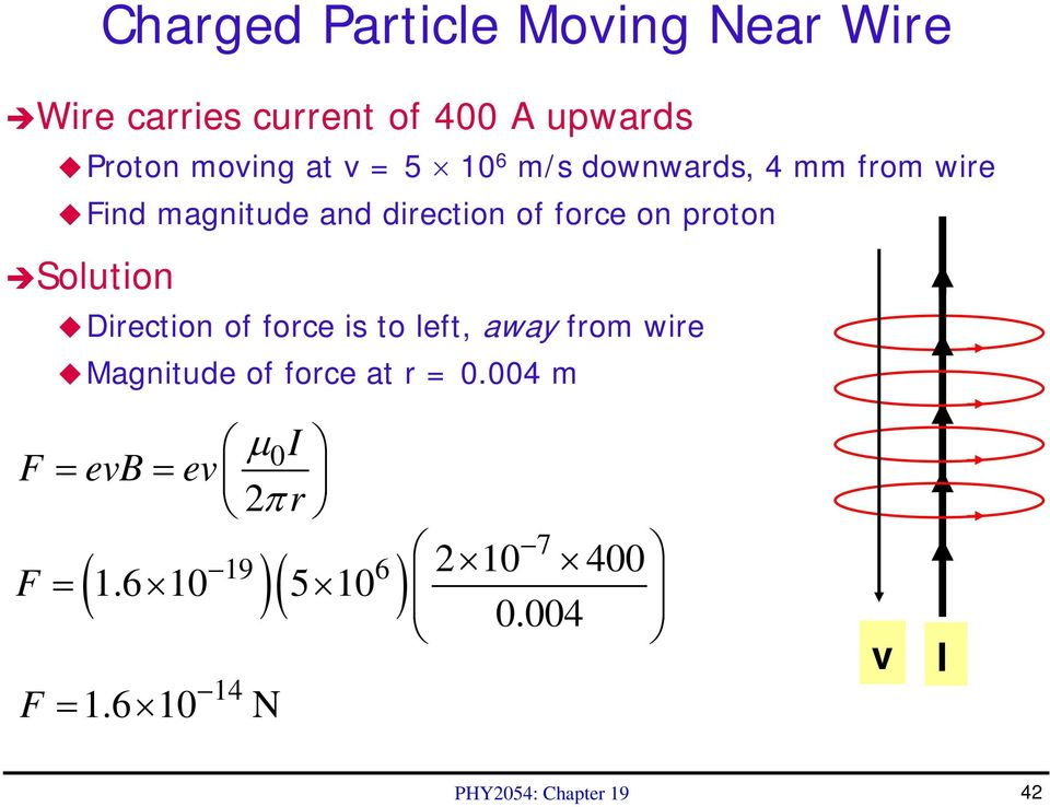 Direction of force is to left, away from wire Magnitude of force at r = 0.