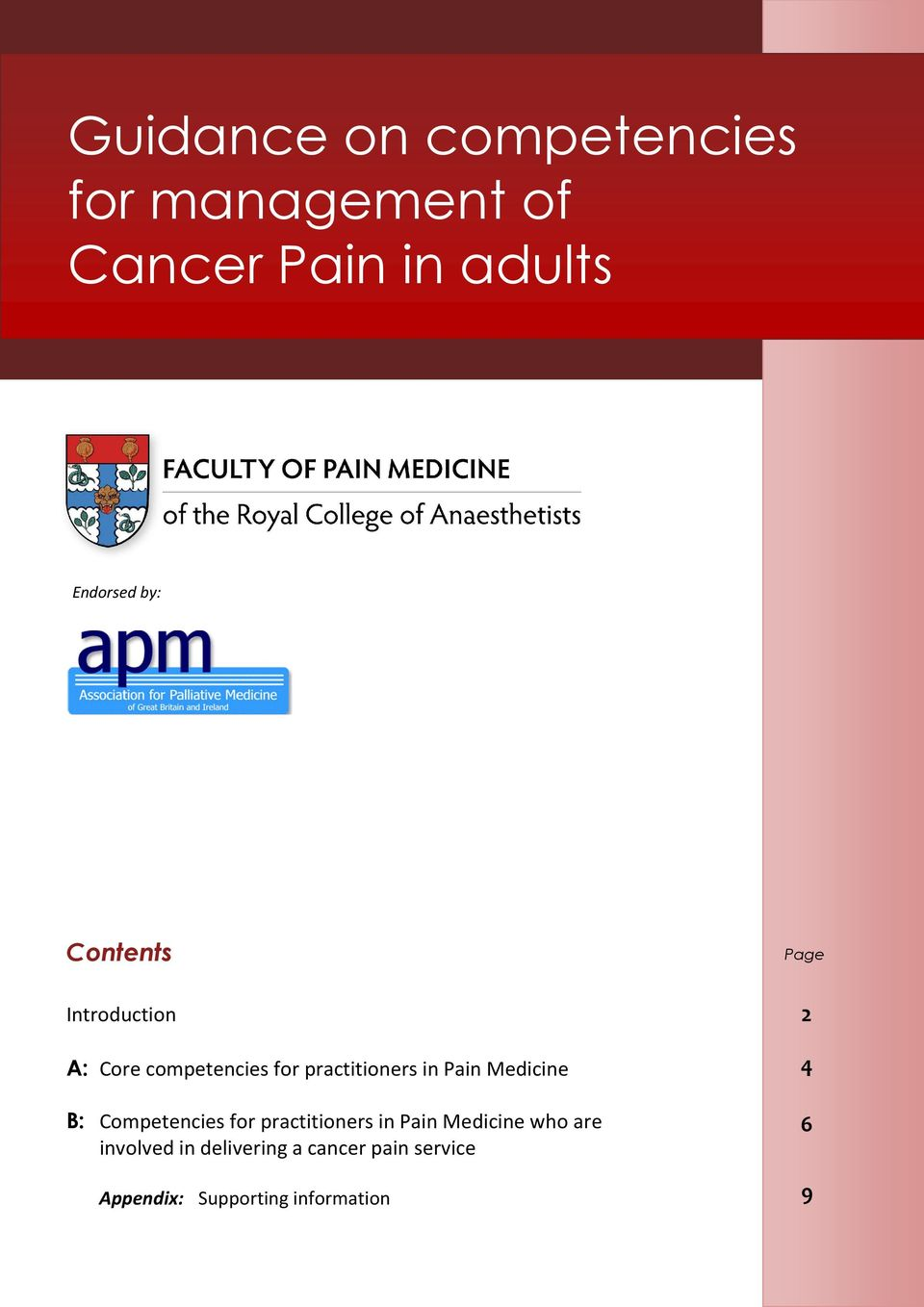 Medicine B: Competencies for practitioners in Pain Medicine who are involved