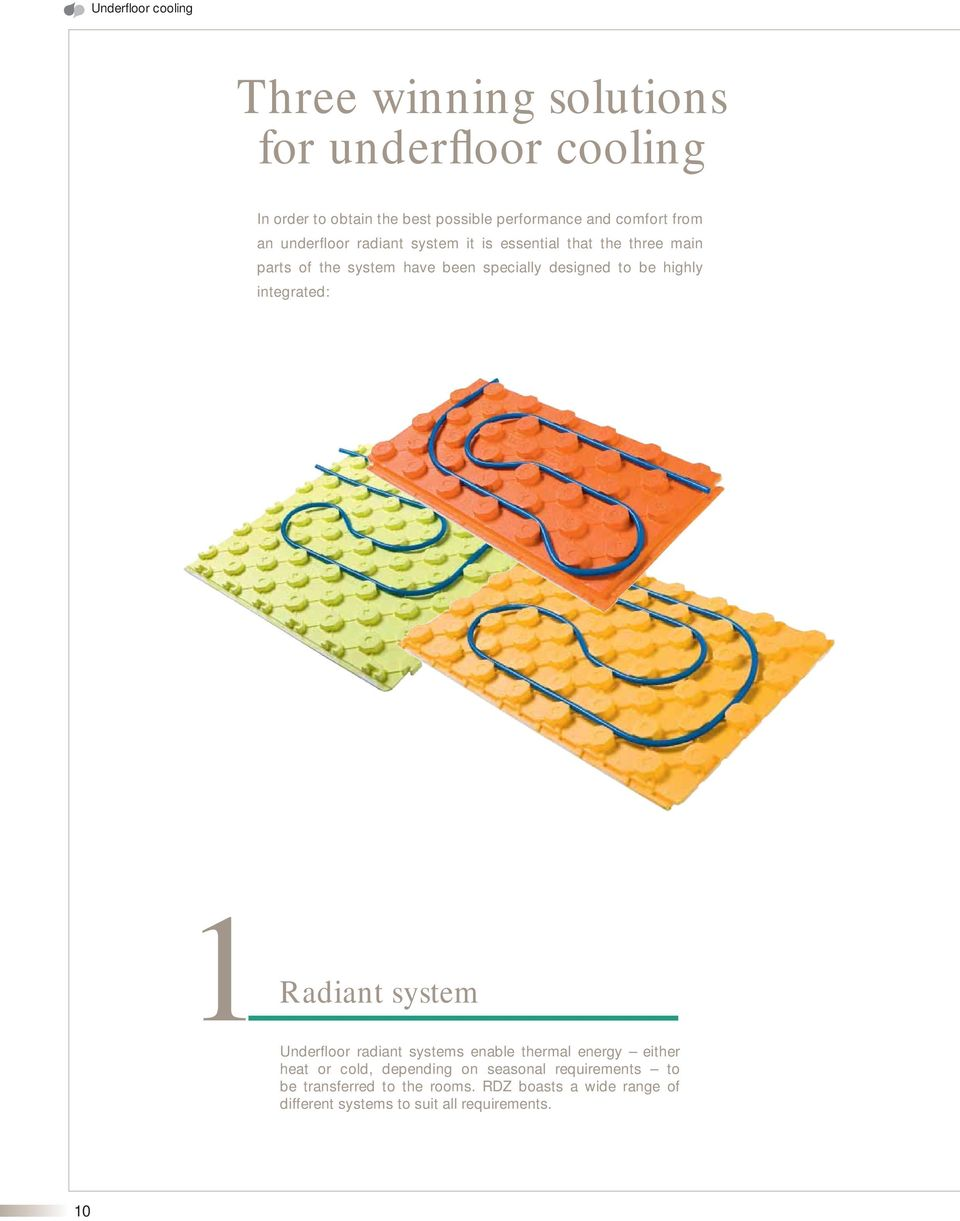 designed to be highly integrated: 1Radiant system Underfloor radiant systems enable thermal energy either heat or cold,