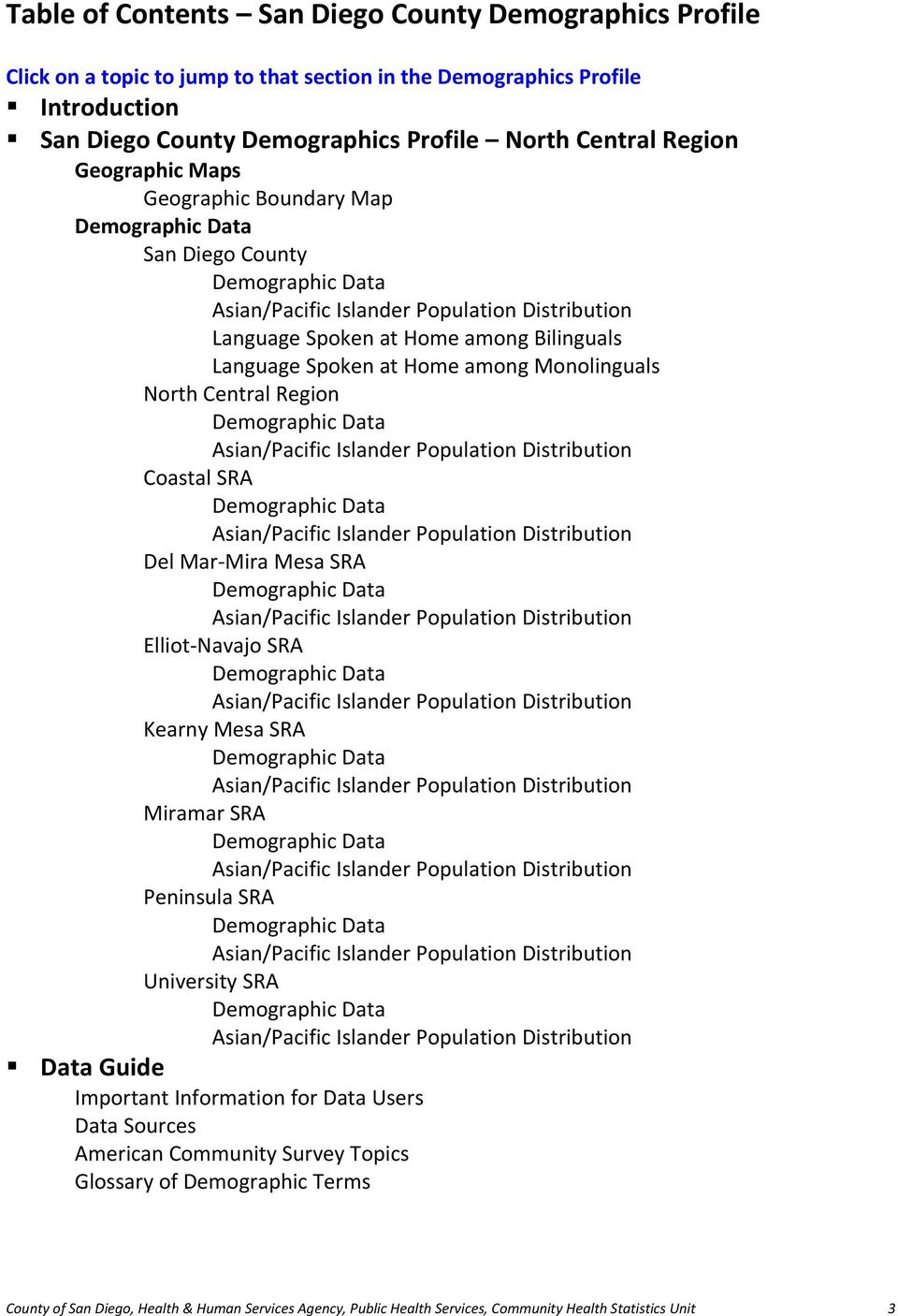 Home among Monolinguals North Central Region Demographic Data Asian/Pacific Islander Population Distribution Coastal SRA Demographic Data Asian/Pacific Islander Population Distribution Del Mar Mira