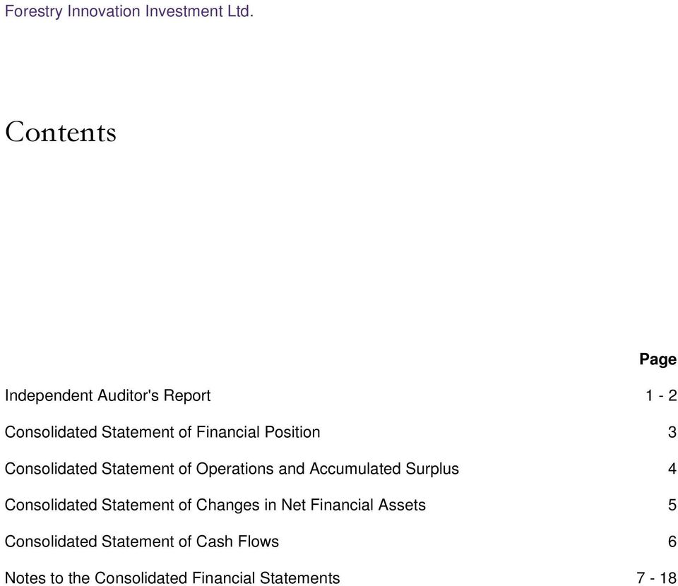 Operations and Accumulated Surplus 4 Consolidated Statement of