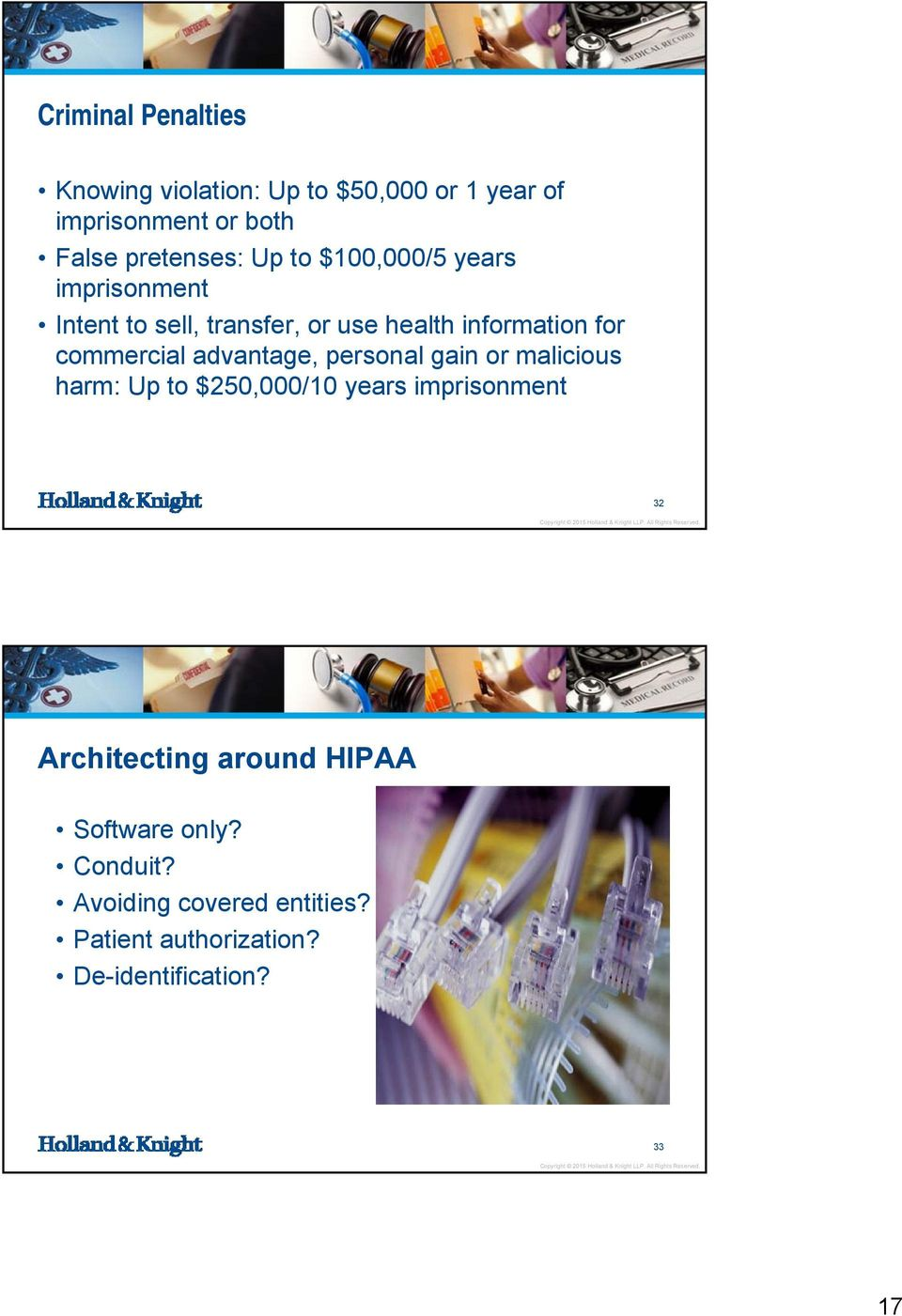 advantage, personal gain or malicious harm: Up to $250,000/10 years imprisonment 32 Architecting around