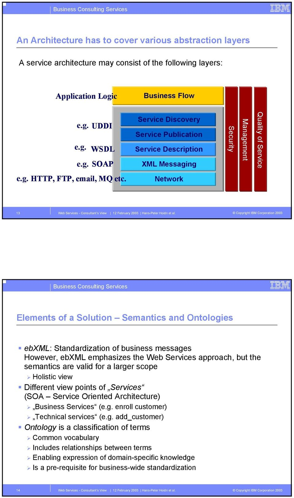 Network 13 Elements of a Solution Semantics and Ontologies ebxml: Standardization of business messages However, ebxml emphasizes the Web Services approach, but the semantics are valid for a larger
