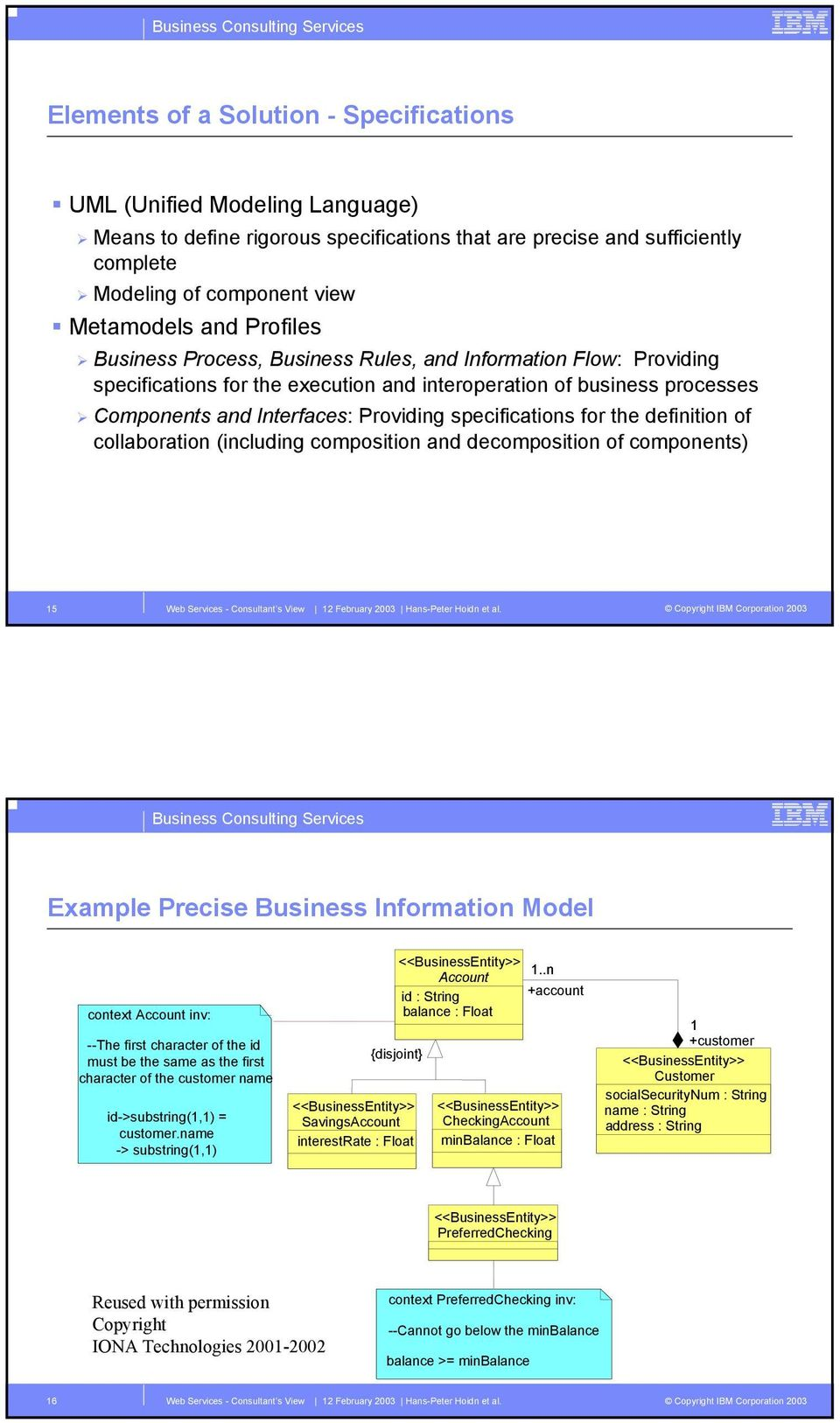 specifications for the definition of collaboration (including composition and decomposition of components) 15 Example Precise Business Information Model context Account inv: --The first character of