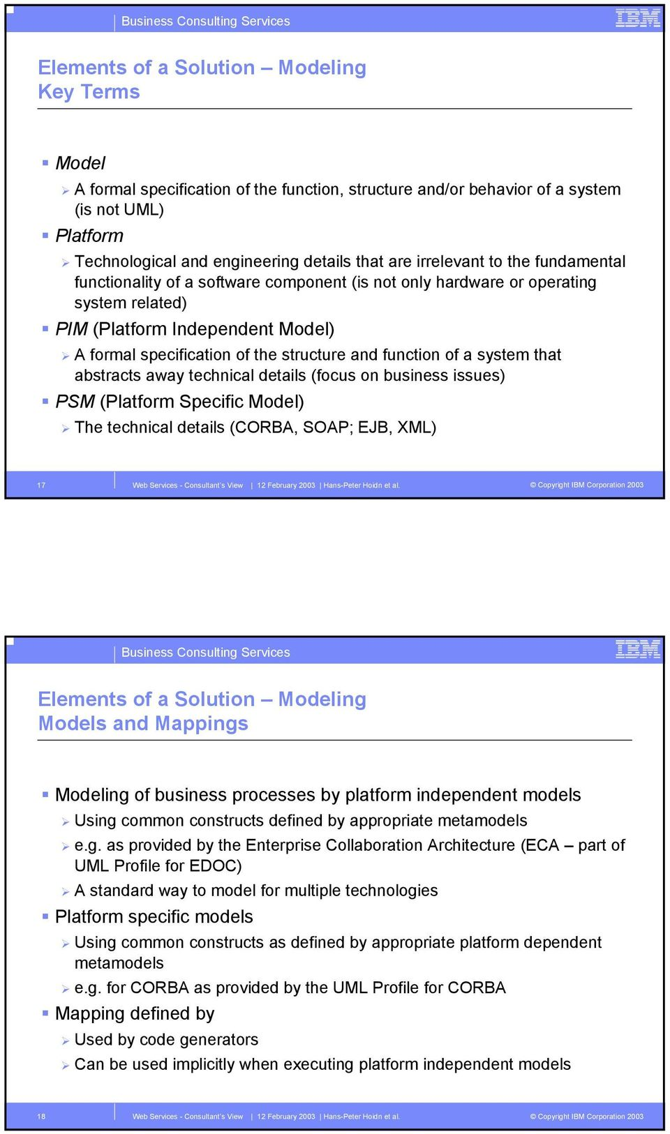 function of a system that abstracts away technical details (focus on business issues) PSM (Platform Specific Model) The technical details (CORBA, SOAP; EJB, XML) 17 Elements of a Solution Modeling