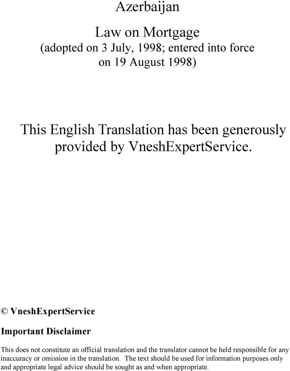 VneshExpertService Important Disclaimer This does not constitute an official translation and the translator cannot be