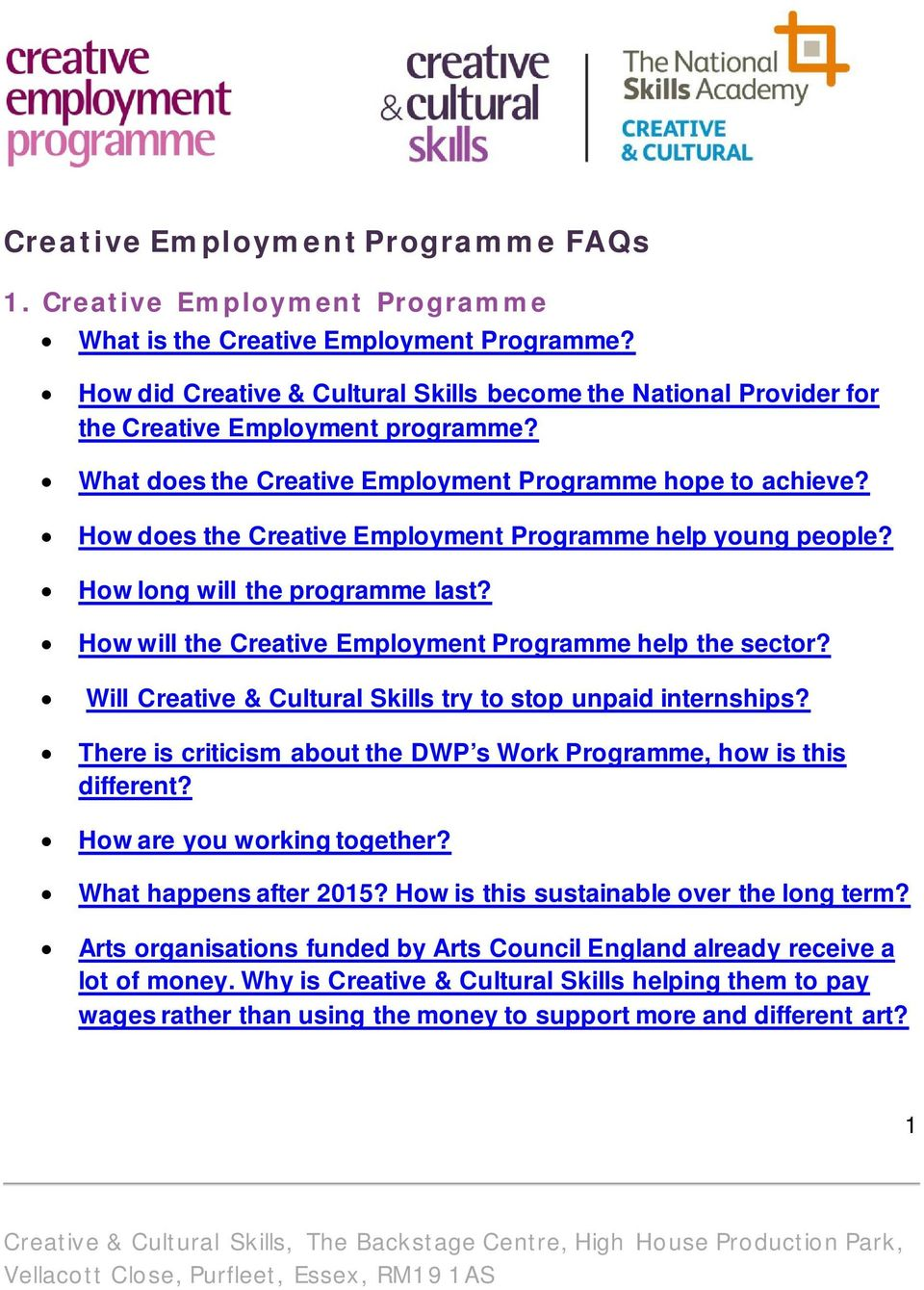 How does the Creative Employment Programme help young people? How long will the programme last? How will the Creative Employment Programme help the sector?