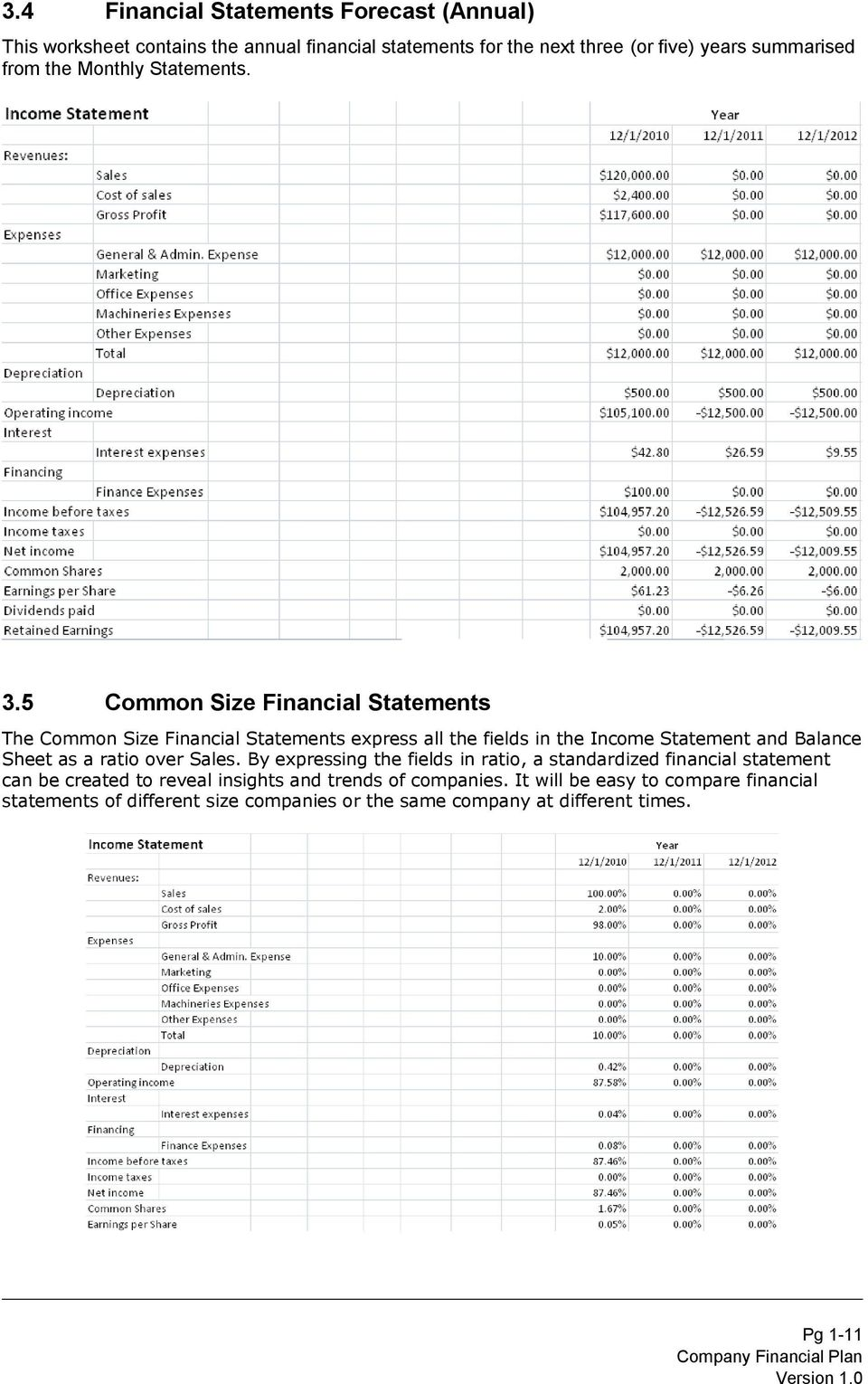 5 Common Size Financial Statements The Common Size Financial Statements express all the fields in the Income Statement and Balance Sheet as a