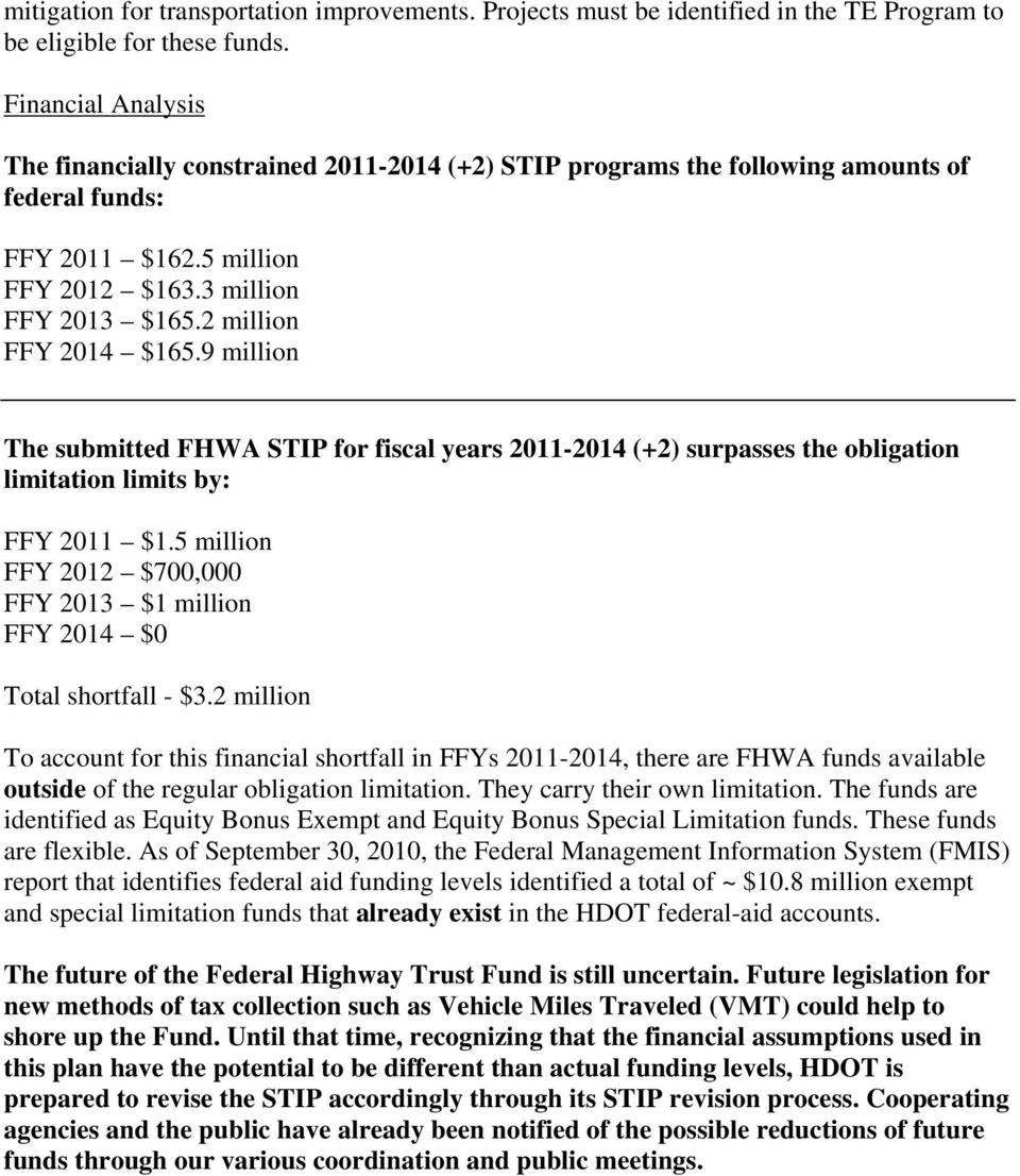 2 million FFY 2014 $165.9 million The submitted FHWA STIP for fiscal years 2011-2014 (+2) surpasses the obligation limitation limits by: FFY 2011 $1.