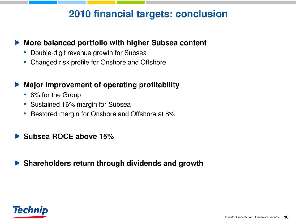 improvement of operating profitability 8% for the Group Sustained 16% margin for Subsea Restored