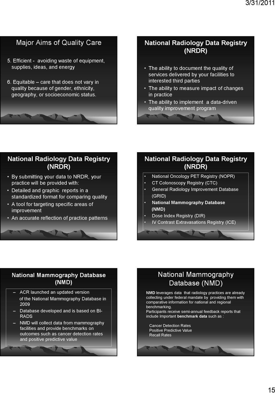 National Radiology Data Registry (NRDR) The ability to document the quality of services delivered by your facilities to interested third parties The ability to measure impact of changes in practice