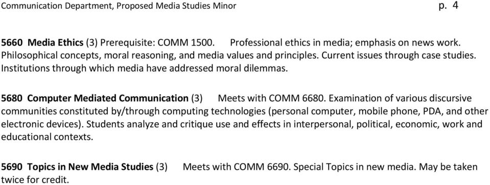5680 Computer Mediated Communication (3) Meets with COMM 6680.