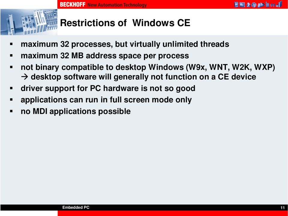 desktop software will generally not function on a CE device driver support for PC hardware is