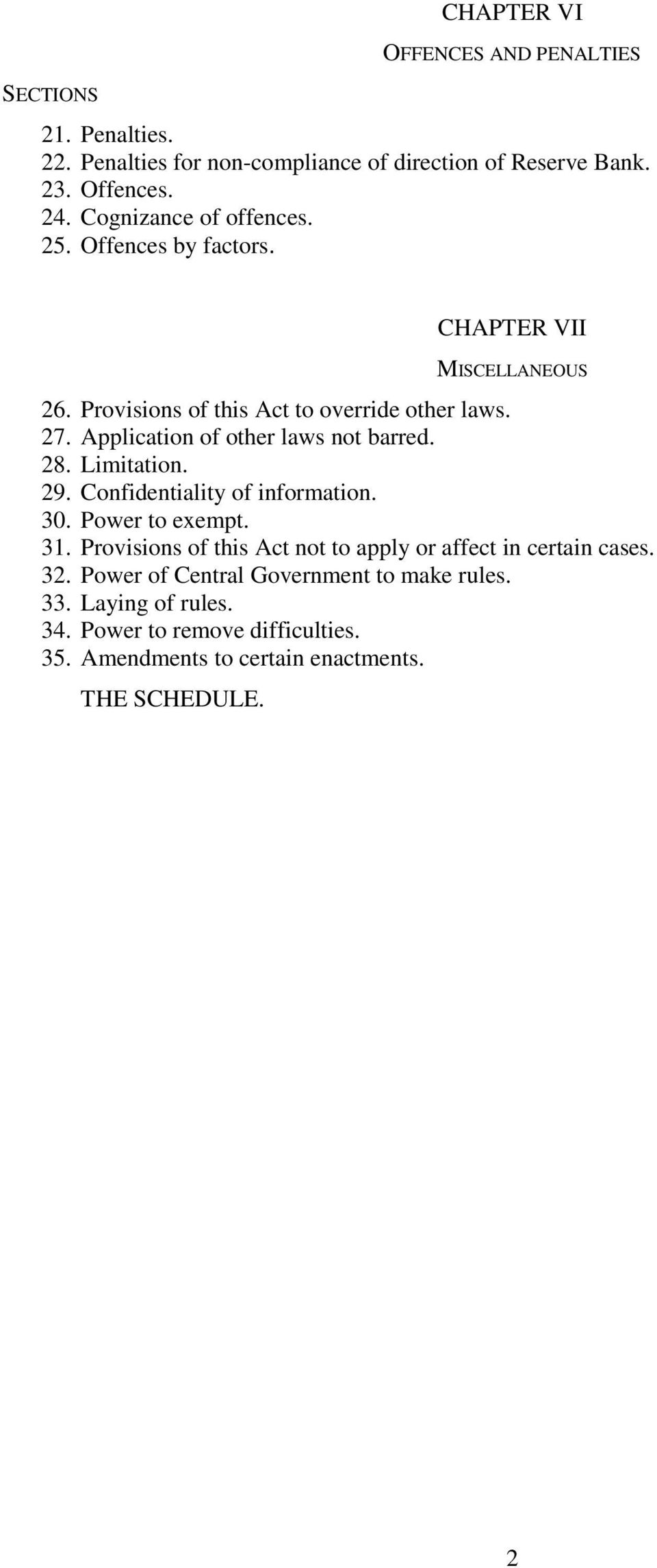 Application of other laws not barred. 28. Limitation. 29. Confidentiality of information. 30. Power to exempt. 31.