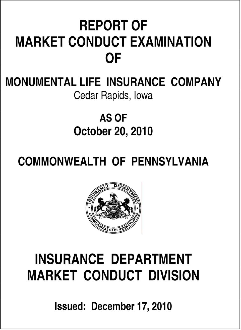 October 20, 2010 COMMONWEALTH OF PENNSYLVANIA