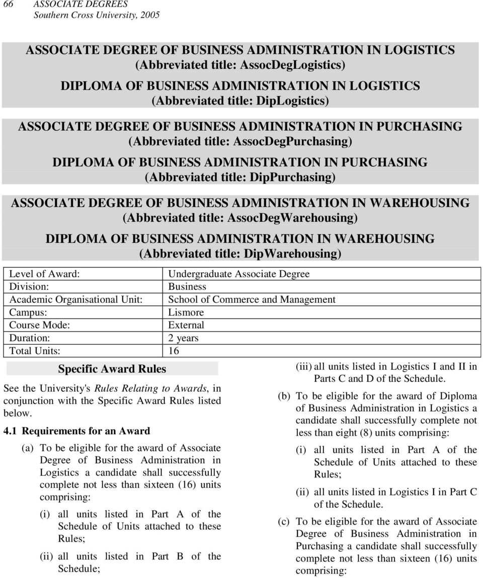 OF BUSINESS ADMINISTRATION IN WAREHOUSING (Abbreviated title: AssocDegWarehousing) DIPLOMA OF BUSINESS ADMINISTRATION IN WAREHOUSING (Abbreviated title: DipWarehousing) Level of Award: Undergraduate