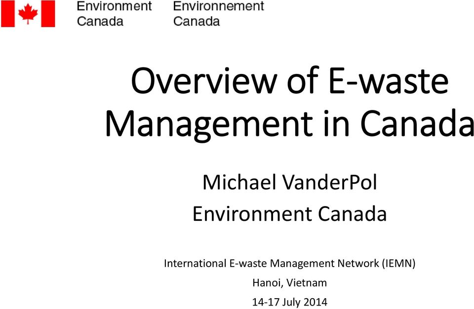 Canada International E waste