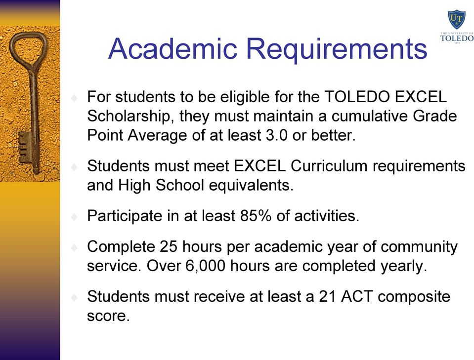 Students must meet EXCEL Curriculum requirements and High School equivalents.
