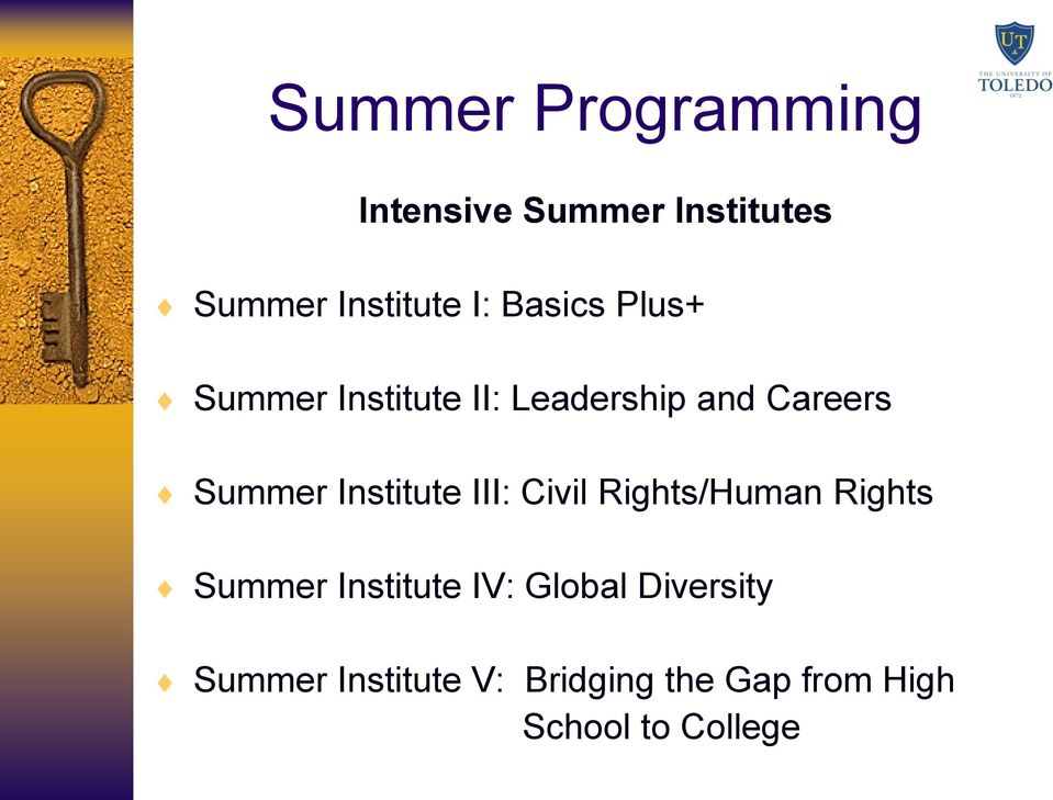 Institute III: Civil Rights/Human Rights Summer Institute IV: Global