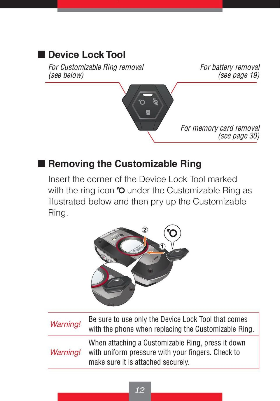 then pry up the Customizable Ring. Warning!