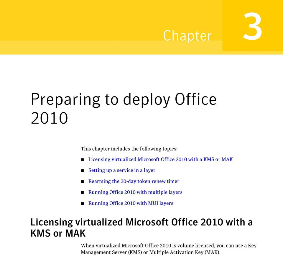 with multiple layers Running Office 2010 with MUI layers Licensing virtualized Microsoft Office 2010 with a KMS or MAK