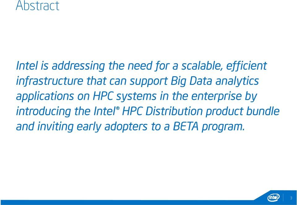 HPC systems in the enterprise by introducing the Intel HPC