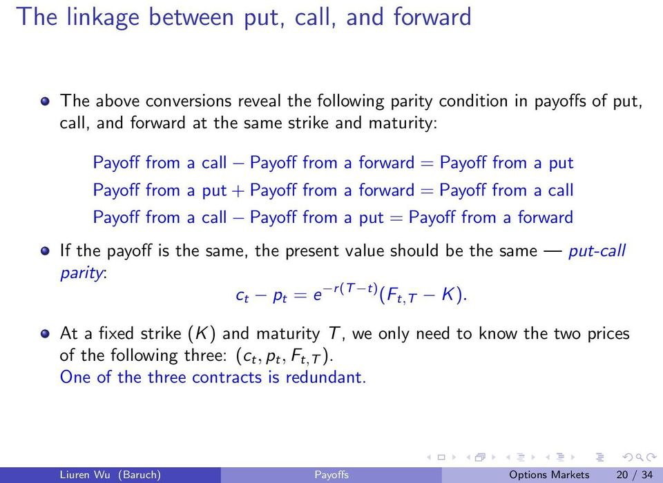 payoff is the same, the present value should be the same put-call parity: c t p t = e r(t t) (F t,t K).
