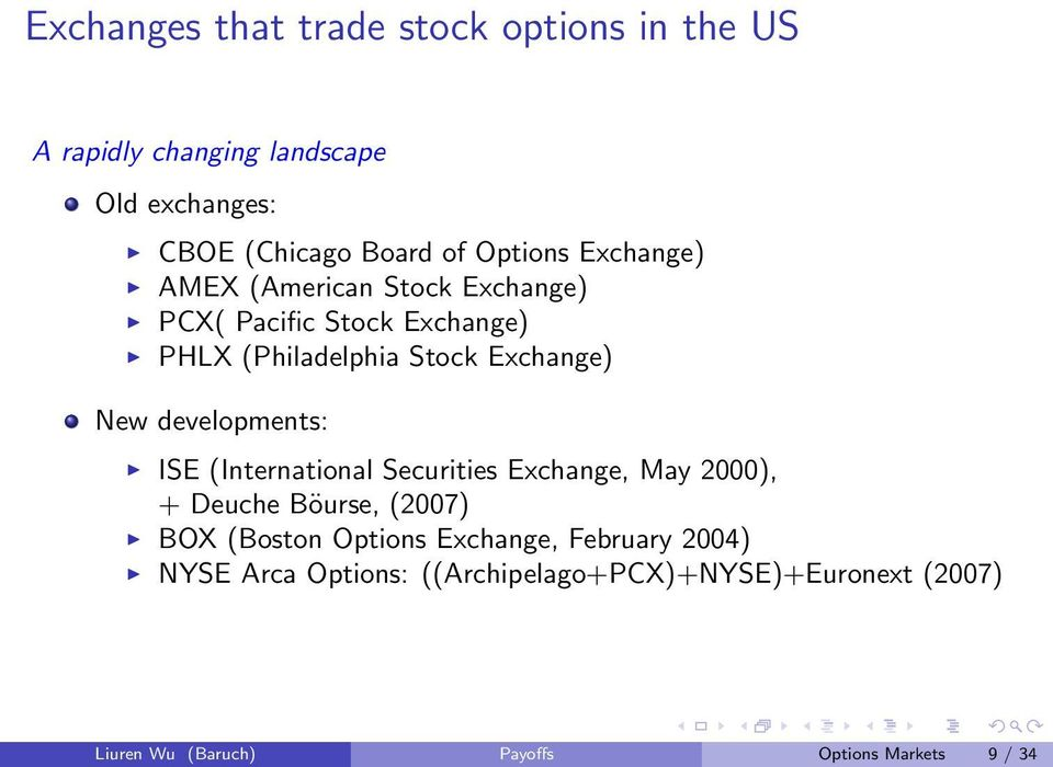 New developments: ISE (International Securities Exchange, May 2), + Deuche Böurse, (27) BOX (Boston Options