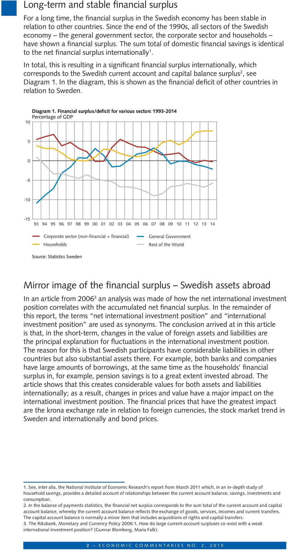 The sum total of domestic financial savings is identical to the net financial surplus internationally 1.
